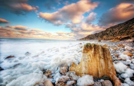 Фотографии море, камни, пляж, пена