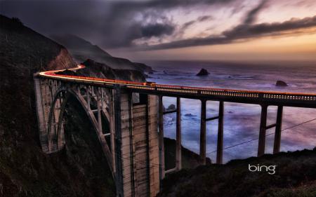 Обои мост, небо, скалы, море