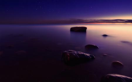 Заставки море, камни, небо, закат
