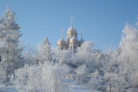 Фото зима, купола, снег, церкви