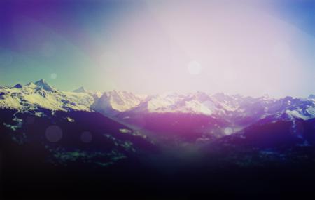 Заставки горы, блики, небо, солнце