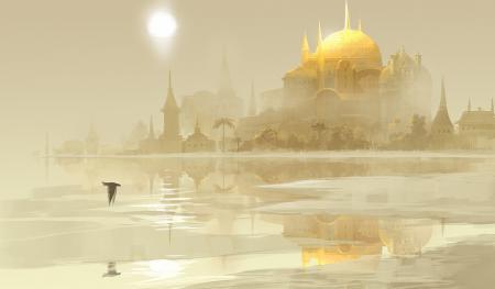 Обои арт, mugon, город, туман
