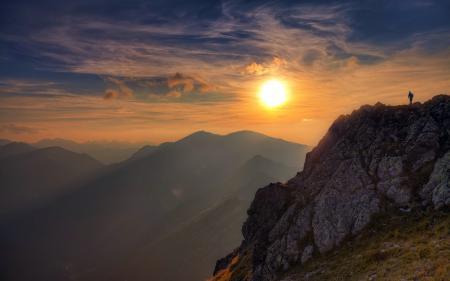 Заставки закат, горы, пейзаж, свет