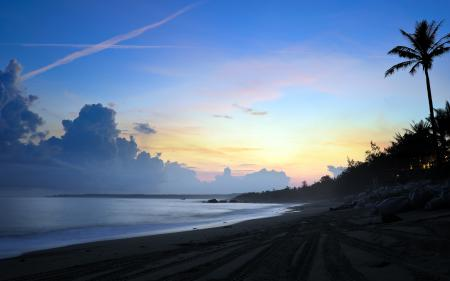 Картинки море, закат, пляж, пейзаж