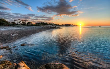 Фото закат, море, дома, пейзаж