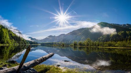 Картинки озеро, небо, свет, природа