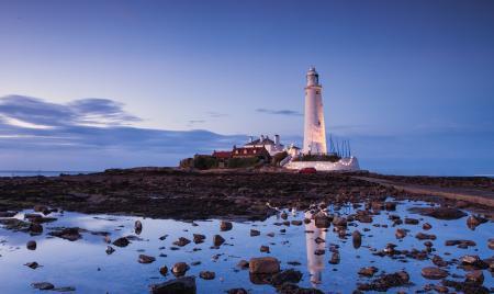 Фото маяк, сумерки, вода, море