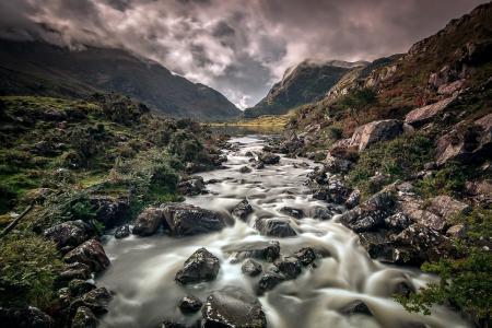 Обои река, горы, природа, пейзаж