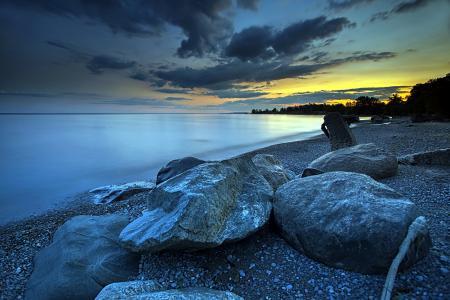 Фото ночь, море, камни, пейзаж