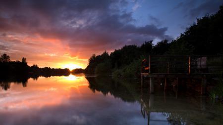 Картинки река, закат, мост, пейзаж