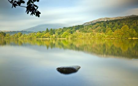 Фото озеро, камень, лето, пейзаж