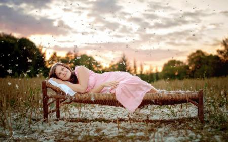 Фотографии девушка, пух, настроение