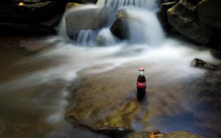 Обои Coca Cola, водопад, поток, пейзаж
