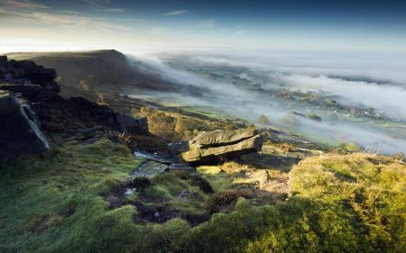 Заставки гора, туман, пейзаж