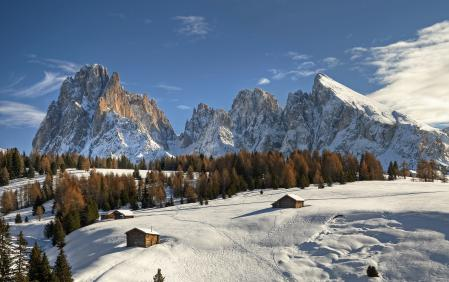 Картинки горы, зима, снег, дома