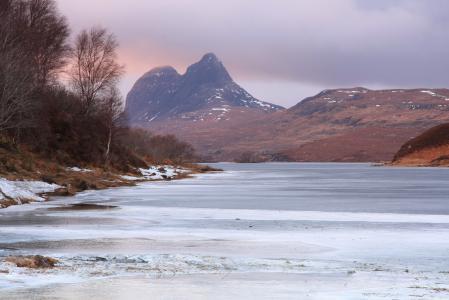 Обои горы, река, лед, зима