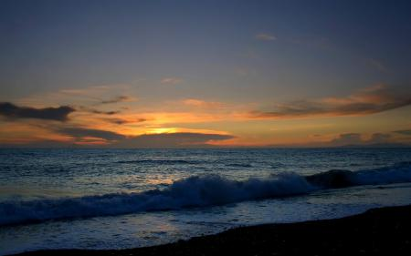Заставки пляж, берег, вечер, вода