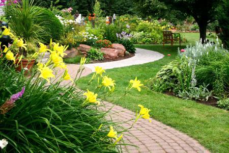 Фотографии Beautiful garden, flowers, path, сад