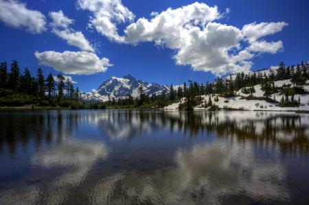 Картинки озеро, небо, облака, горы