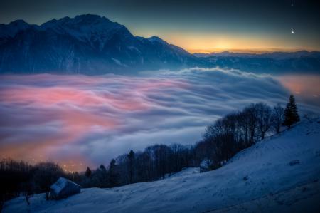 Фото швейцария, горы, облака, вечер
