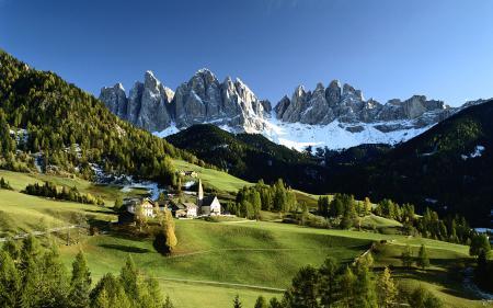 Заставки горы, снег, деревья, дома