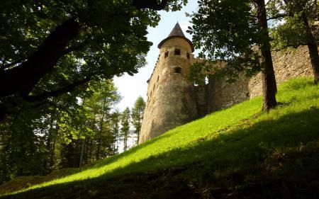 Фотографии замок, холм, травка, день