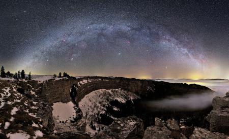 Фотографии ночь, скалы, лес, космос