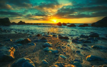 Обои море, камни, берег, закат
