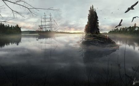 Обои корабль, озеро, лес