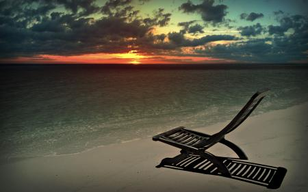 Фото шезлонг, пляж, закат, море