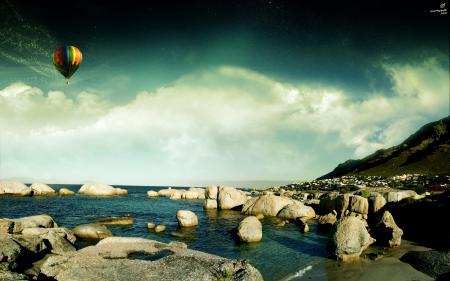 Фотографии Небо, воздушный шар, вода, камни