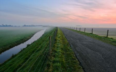 Обои закат, дорога, поле