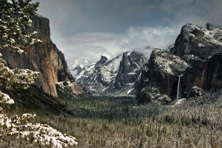 Фото зима, горы, долина, леса