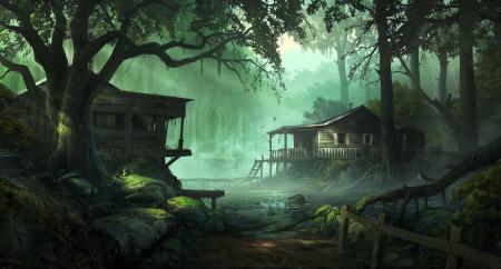 Обои болото, дома, домики, andreewallin