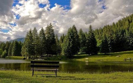 Фотографии Природа, озеро, лавка, скамейка