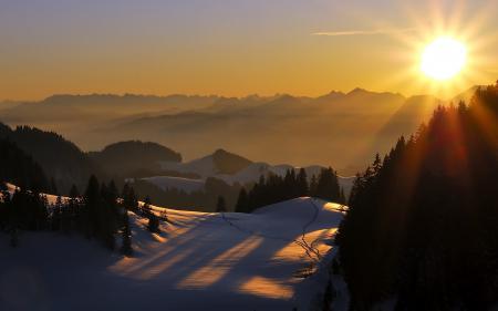 Фото закат, горы, пейзаж