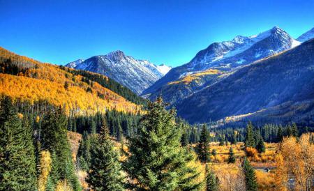 Фото горы, небо, горная долина, деревья