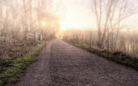 Обои утро, дорога, забор, туман