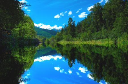 Заставки Природа, река, лес, лето