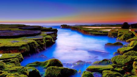 Фото море, закат, камни, мох