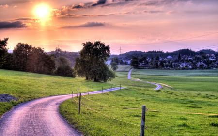 Заставки закат, дорога, забор, пейзаж