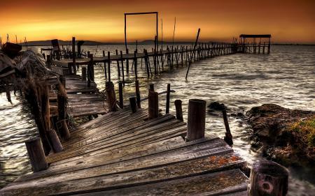 Фото Закат, пирс, штиль, море
