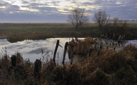 Картинки утро, река, мост, природа