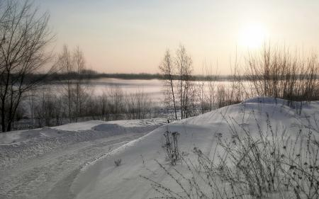 Фотографии зима, дорога, снег, пейзаж