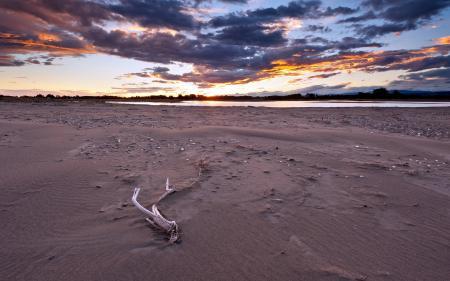 Фото река, небо, закат, берег