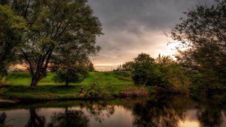 Фотографии закат, река, рыбак, пейзаж