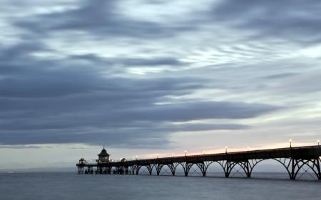 Фото закат, море, мост, пейзаж