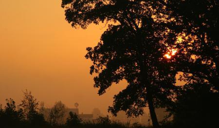 Картинки вечер, закат, город, пейзаж