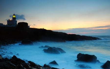 Картинки ночь, море, маяк, пейзаж
