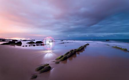Фото закат, море, камни, свет